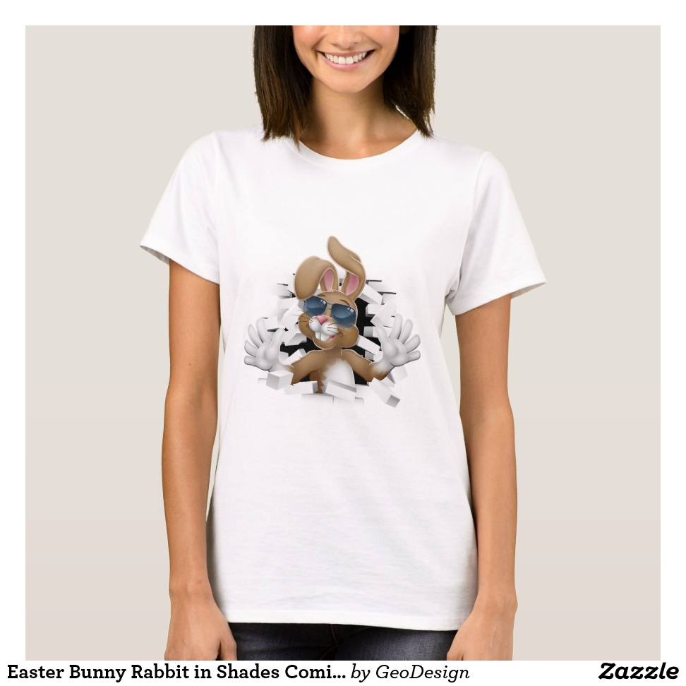 Easter Bunny Rabbit in Shades Coming Through Wall T-Shirt - Best Selling Long-Sleeve Street Fashion Shirt Designs