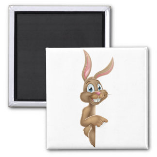Easter Bunny Rabbit Pointing Cartoon Magnet