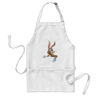 Easter Bunny Rabbit Pointing Down Adult Apron