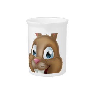 Easter Bunny Rabbit Pointing Down Beverage Pitchers