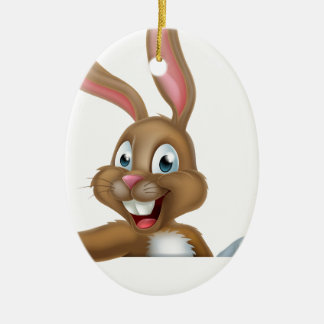 Easter Bunny Rabbit Pointing Down Ceramic Ornament