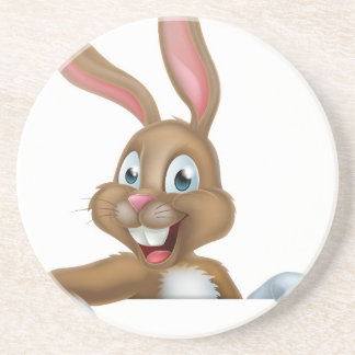 Easter Bunny Rabbit Pointing Down Coaster