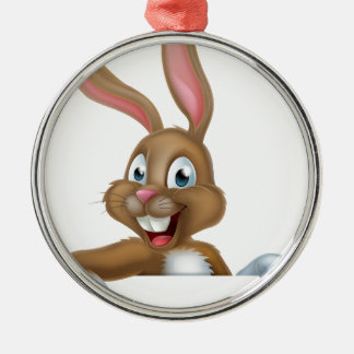 Easter Bunny Rabbit Pointing Down Metal Ornament