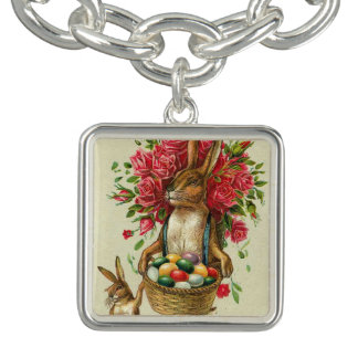 Easter Bunny Rabbit Victorian Charm Roses