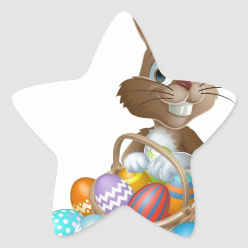 Easter bunny rabbit with Easter eggs basket Star Sticker