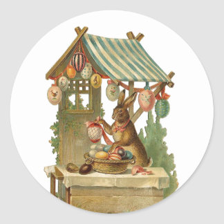 Easter Bunny Roadside Egg Stand Classic Round Sticker