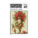 Easter Bunny & Roses Antique Post Card Postage Stamps