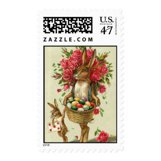 Easter Bunny & Roses Antique post office Card Stamp