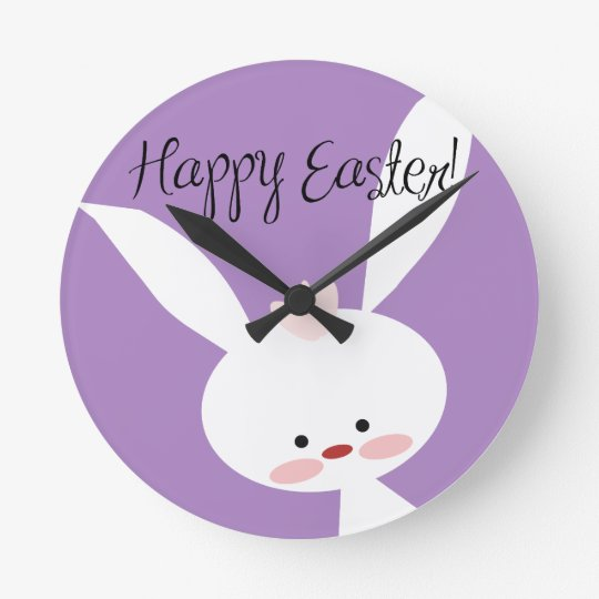 Easter Bunny Round Clock