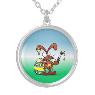 Easter Bunny Round Pendant Necklace