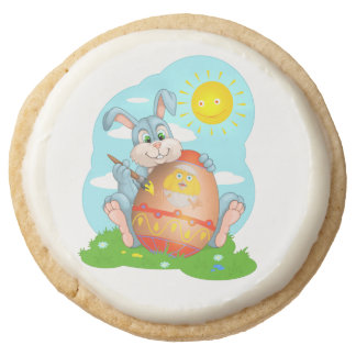Easter bunny round shortbread cookie