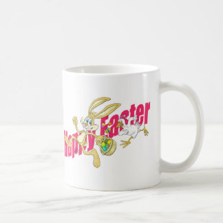 Easter bunny running away from a chicken. coffee mug