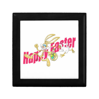 Easter bunny running away from a chicken. gift box