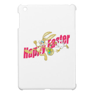 Easter bunny running away from a chicken. iPad mini case