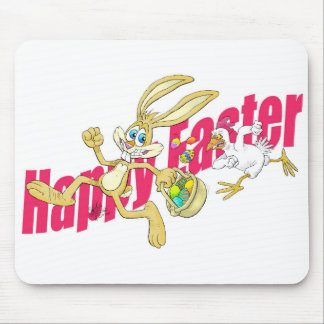 Easter bunny running away from a chicken. mouse pad