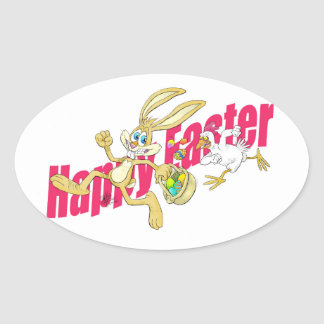 Easter bunny running away from a chicken. oval sticker