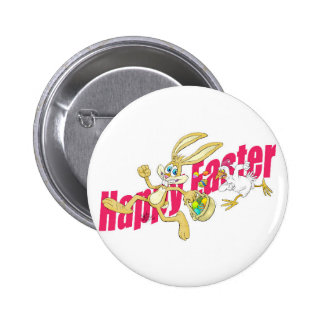 Easter bunny running away from a chicken. pinback button
