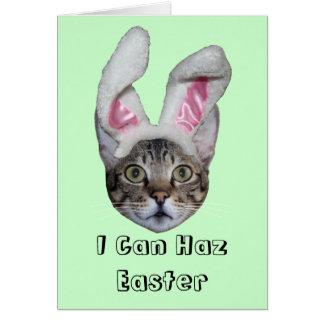 Easter Bunny Savannah Cat Greeting Card
