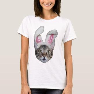 Easter Bunny Savannah Cat Ladies Baby Doll T-Shirt