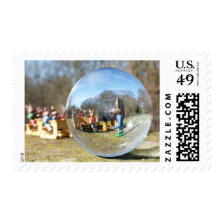 Easter Bunny school seen through the glass ball Postage