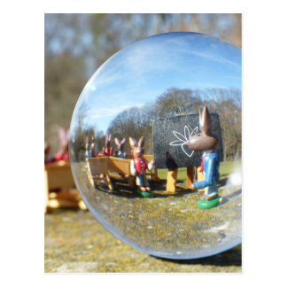 Easter Bunny school seen through the glass ball Postcard