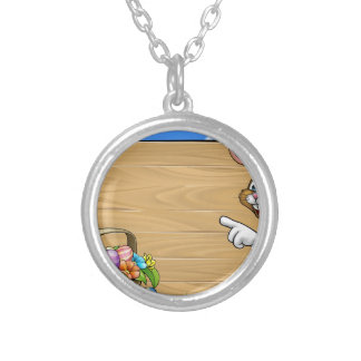 Easter Bunny Sign Background Silver Plated Necklace