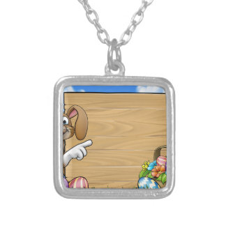 Easter Bunny Sign Silver Plated Necklace