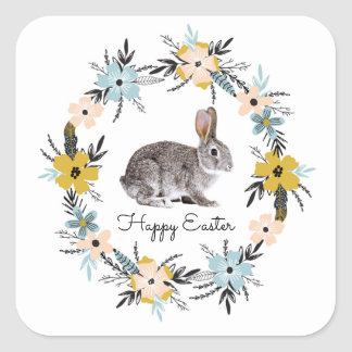 Easter Bunny & Spring Flowers Easter Gift Stickers