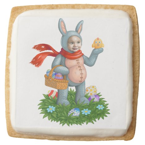 Easter bunny. square shortbread cookie