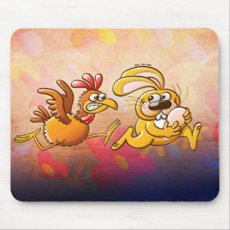 Easter Bunny Stealing an Egg from a Furious Hen Mouse Pad