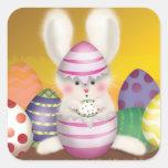 Easter Bunny Sticker Pegatina Cuadrada