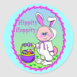 Easter Bunny Suit Classic Round Sticker