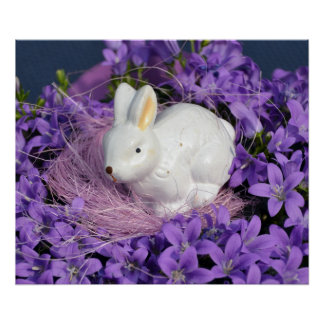 Easter Bunny Surrounded by Purple Flowers Poster