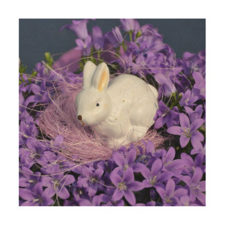 Easter Bunny Surrounded by Purple Flowers Wood Wall Art