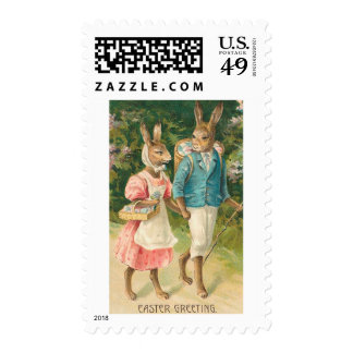 Easter Bunny Sweethearts Vintage Stamp