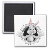 Easter Bunny Tearing Through Background Magnet