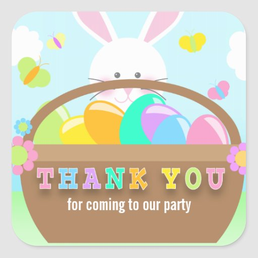 easter bunny thank you stickers square sticker