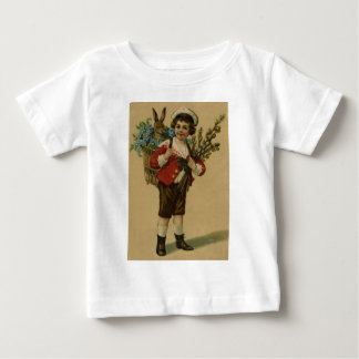 Easter Bunny Victorian Girl Forget Me Not Basket Baby T-Shirt