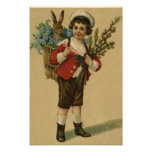 Easter Bunny Victorian Girl Forget Me Not Basket Art Photo