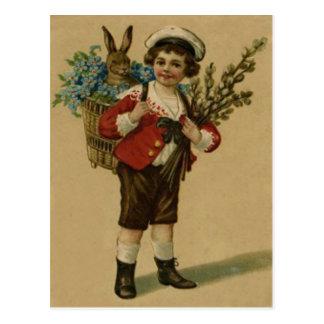 Easter Bunny Victorian Girl Forget Me Not Basket Postcard