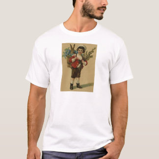 Easter Bunny Victorian Girl Forget Me Not Basket T-Shirt
