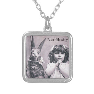 Easter Bunny Victorian Girl Praying Antique Card Silver Plated Necklace
