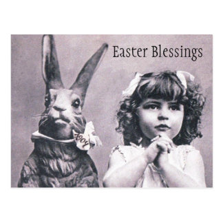 Easter Bunny Victorian Praying Girl Post Card