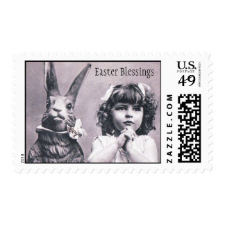 Easter Bunny Victorian Praying Girl Stamps