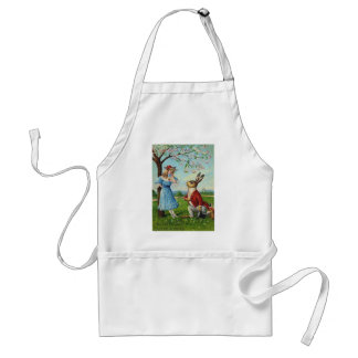 Easter Bunny Victorian Woman Cherry Tree Adult Apron