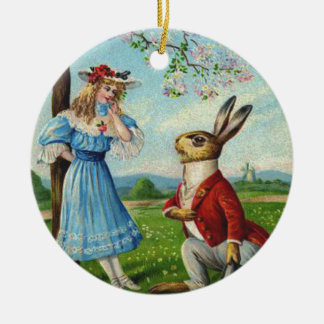 Easter Bunny Victorian Woman Cherry Tree Ceramic Ornament