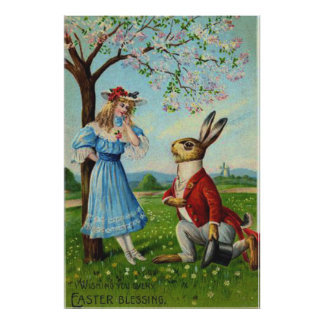 Easter Bunny Victorian Woman Cherry Tree Poster