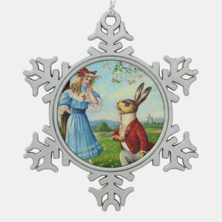Easter Bunny Victorian Woman Cherry Tree Snowflake Pewter Christmas Ornament