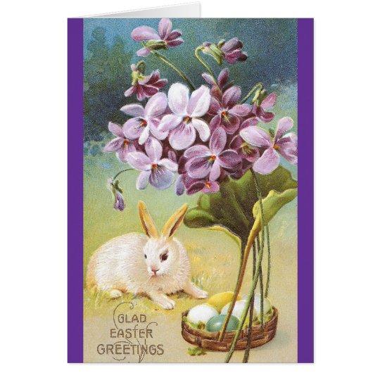 Easter Bunny & Violets Card