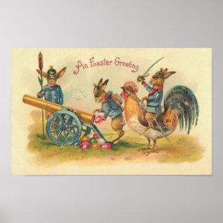 Easter Bunny War Vintage Poster